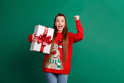 Photo of attractive crazy funky lady newyear party receive large big giftbox present package raise fist open mouth win competition prize wear red ugly pullover isolated green color background