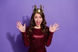Photo of attractive crazy lady festive party event prom queen nomination excited crown on head overjoyed wear sequins burgundy short dress isolated pastel violet color background