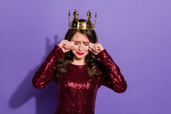 Photo of attractive lady party prom queen nomination excited crown head overjoyed burst out crying feelings emotions wear sequins burgundy dress isolated pastel violet color background