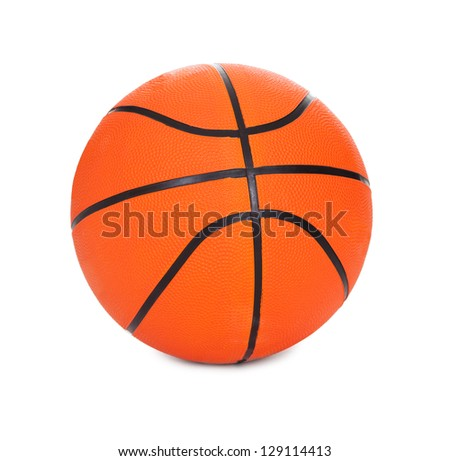 Photo of basketball ball. Isolated on white - stock photo