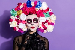Photo of beautiful dead bride death day calaverita katrina facial tattoo zombie ornament look sly empty space floral headband black traditional costume isolated purple violet color background