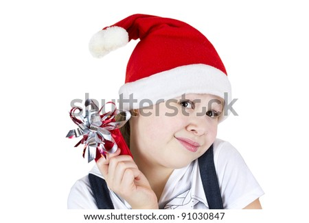 photo of beautiful little girl with red gift box