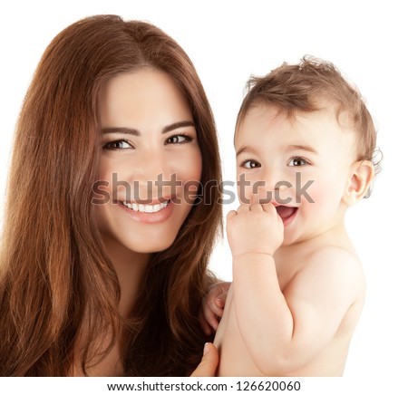 Photo of beautiful mother holding cute baby boy, closeup portrait of pretty brunette woman with little son isolated on white background, happy arabic family, adorable kid, love and happiness concept