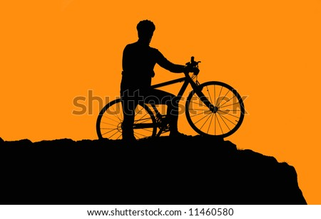 Photo of biker silhouette in sunset #11460580