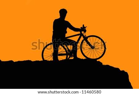 Photo of biker silhouette in sunset #11460580