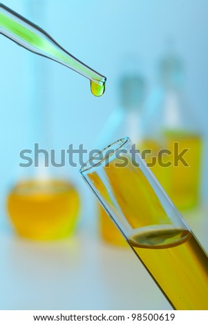 Photo of bio fuel drop on blue background