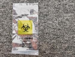 Photo of bio hazard specimen bag.