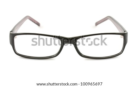 Photo of black glasses isolated on white background