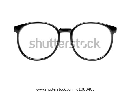 Photo of black nerd glasses isolated on white with clipping paths for the frames and lenses so you can easily put your own character in.