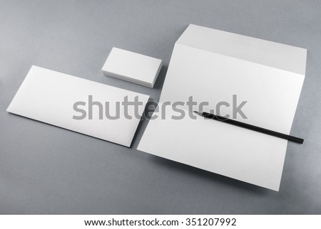 Photo of blank stationery set for branding identity on gray background. Mockup for design presentations and portfolios. #351207992