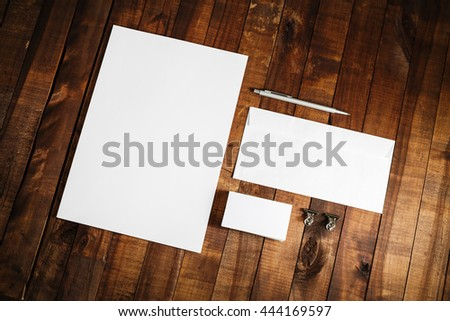 Photo of blank stationery set on vintage wooden table background. Template for branding identity. Mock-up for ID. Responsive design template. Blank template for your design. #444169597