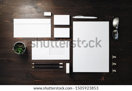 Photo of blank stationery set on wood background. Corporate identity template. Responsive design mockup. Flat lay. #1505923853