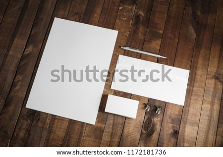 Photo of blank stationery set on wood table background. Corporate identity template. Responsive design mockup. #1172181736