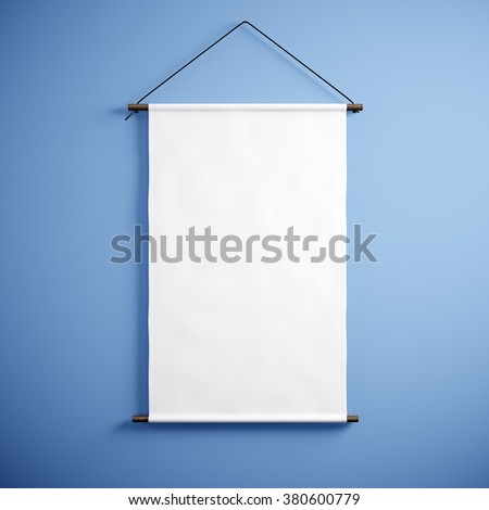 Photo of blank white canvas hanging on the empty blue background. Vertical canvas. 3d render
