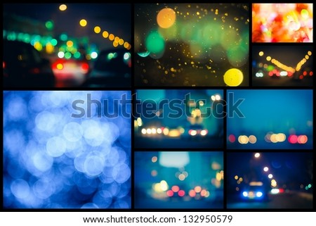Photo Of Bokeh Lights / Street Lights Out Of Focus. Set, collage.