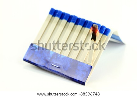 Photo of burning Matchbook (Book of Matches) paper stick over white background, the focal point is in power point where is the phosphoric burned head of the stick, all other part is out of focus.
