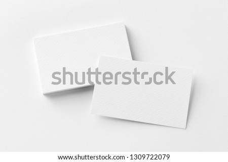 Photo of business cards stack. Template for branding identity. Isolated with clipping path. #1309722079