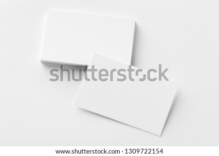 Photo of business cards stack. Template for branding identity. Isolated with clipping path. #1309722154