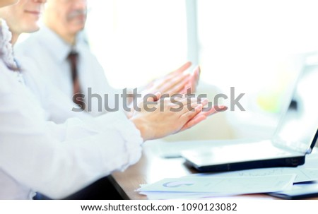 Photo of business partners hands applauding at meeting #1090123082
