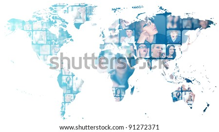 Photo of business people are glowing at world map. International business communication concept