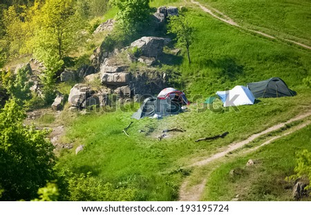 Photo of camping at european mountains
