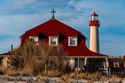 Photo of Cape May Point Lighthouse and Saint Mary By The Sea, Cape May New Jersey, USA