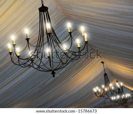 stock photo Photo of chandeliers on an tent 39s ceiling in a wedding party