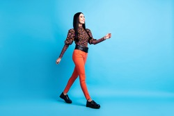 Photo of charming lady walk wear floral print shirt trousers footwear isolated blue color background