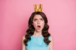 Photo of charming shocked lady festive event prom party look up head golden crown unexpected queen nomination status wear blue teal dress isolated pastel pink color background