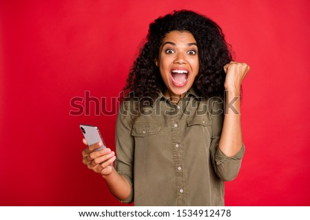 Photo of cheerful rejoicing curly wavy brunette youngster overjoyed with having won competitions shouting screaming brown haired expressing emotions feedback isolated vibrant color background #1534912478