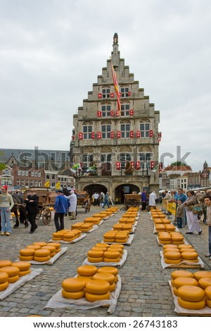 Photo of Cheese on market in Alkmaar Holland