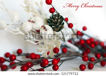 Photo of christmas decorations on wooden background