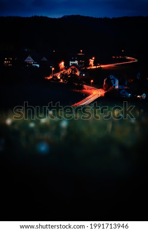 Photo of City, Road from Hill during Night