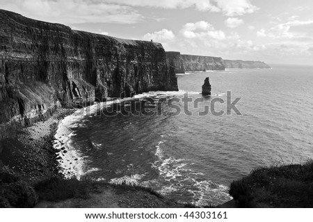 photo of cliffs of moher west coast ireland county clare. black and white cliffs of moher county clare ireland. famous irish landscape and seascape on the wild atlantic way #44303161