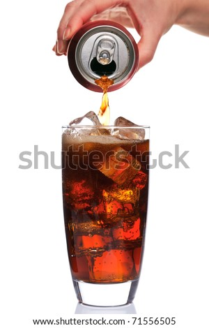 Photo of Cola being poured into a glass with ice cubes in, isolated on a white background.