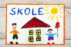 Photo of  colorful drawing: Swedish word SCHOOL, school building and happy children. First day at school.