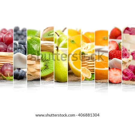 Photo of colorful mix stripes with fruit and slices in baskets; healthy eating concept; white space for text