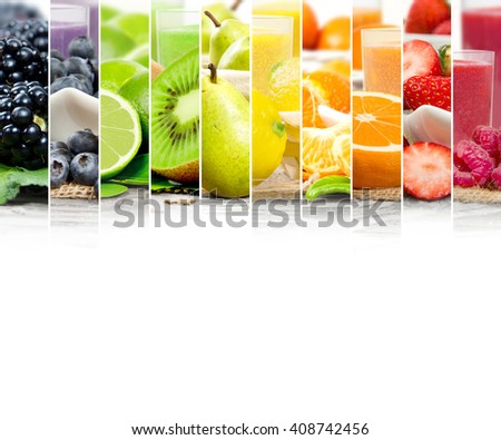 Photo of colorful mix stripes with fruit, slices and drink; healthy food and drink concept; white space for text
