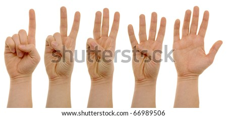 photo of counting hands with clipping paths