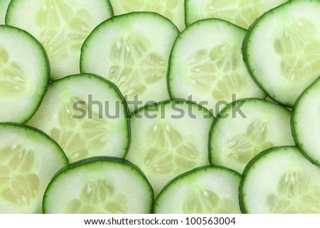 Photo of cucumber slices as a background.