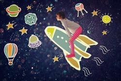 Photo of cute kid imagine speceship flight. set of infographics over glittery background