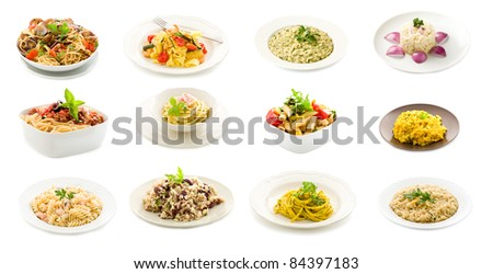 photo of delicious italian pasta and rice dishes putted into a collage