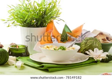 photo of delicious tortellini in bouillon