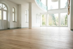 Photo of empty bright living room without furniture
