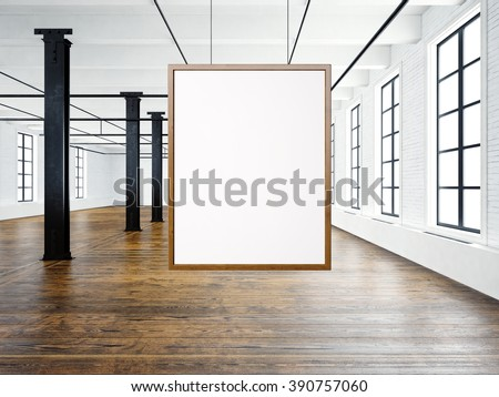 Photo of empty interior in modern loft. Open space loft.Empty white canvas hanging on the wood frame. Wood floor, bricks wall,big windows, black beams. Horizontal, blank mockup. 3d rendering