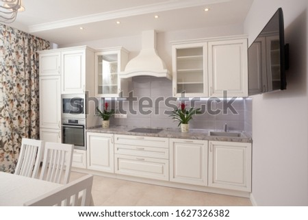 photo of empty minimalistic interior background, kitchen in modern apartment with counter, curtain, chairs,  equipment and flowers on table, nobody, with copy space, horizontal