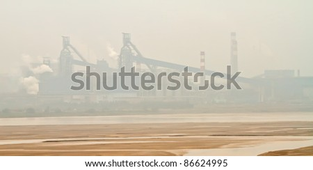 Photo of factories along Yellow River, the second longest river in China