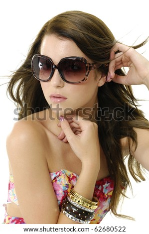 photo of fashion blond girl wears sunglasses