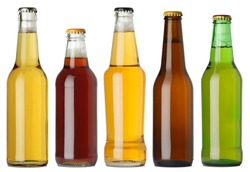 Photo of five different full beer bottles with no labels. Separate clipping path for each bottle included. Five separate photos merged together.