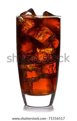 Photo of fizzy Cola in a glass with ice cubes, isolated on a white background.